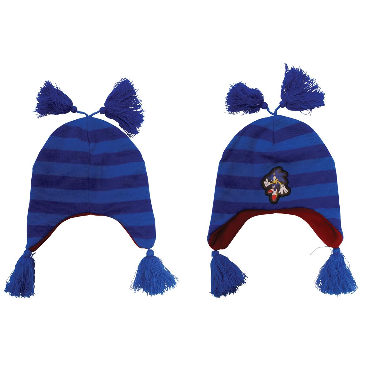 Sega Blue Striped Beanie With Poms